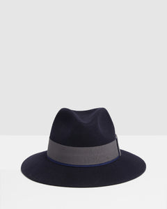 Kate and Confusion Navy wool ladies fedora hat