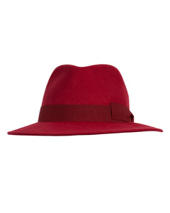 Kate and Confusion red wool felt fedora hat