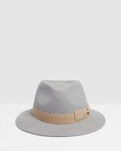 Load image into Gallery viewer, Kate and Confusion grey wool felt ladies fedora hat with soft pink ribbon trim