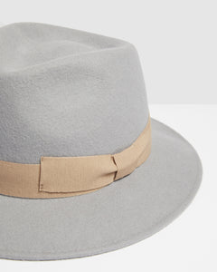 Kate and Confusion grey wool felt ladies fedora hat with soft pink ribbon trim