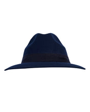 Load image into Gallery viewer, Kate and Confusion navy wool felt ladies fedora hat with mohair trim