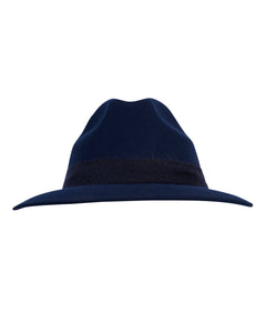 Kate and Confusion navy wool felt ladies fedora hat with mohair trim