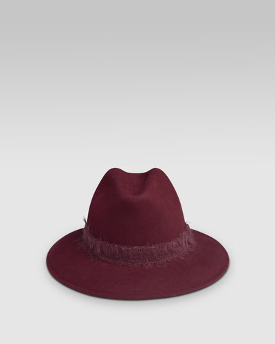 Kate and Confusion Ladies wool felt fedora hat in wine red