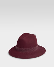 Load image into Gallery viewer, Kate and Confusion Ladies wool felt fedora hat in wine red