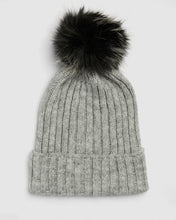 Load image into Gallery viewer, Kate and Confusion soft grey wool rib ladies beanie with faux fur pompom