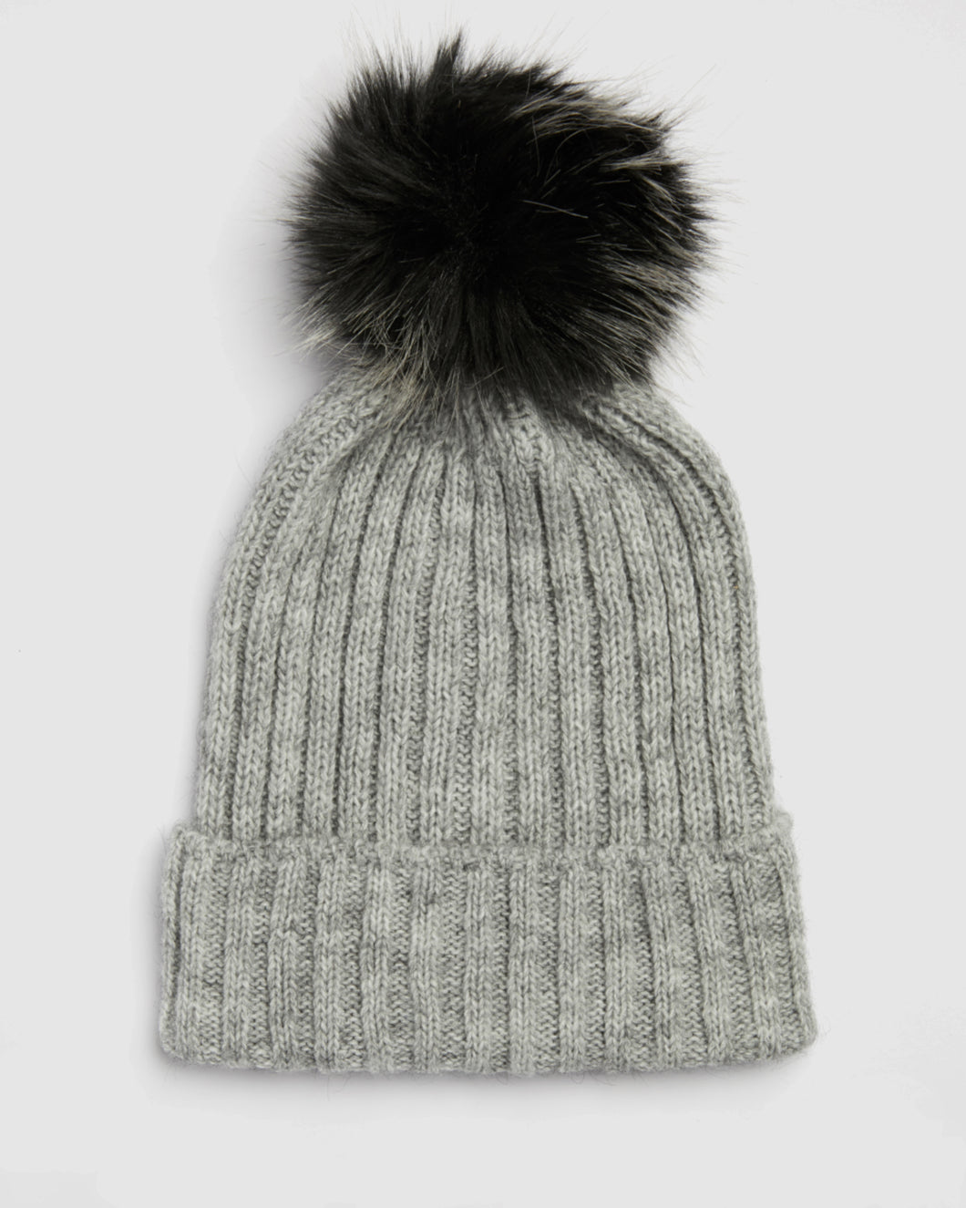 Kate and Confusion soft grey wool rib ladies beanie with faux fur pompom