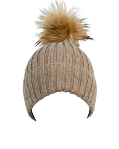 Kate and Confusion beige wool beanie with faux fur pompom