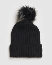 Load image into Gallery viewer, Kate and Confusion ladies black rib wool beanie with faux fur pompom