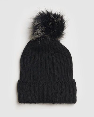 Kate and Confusion ladies black rib wool beanie with faux fur pompom