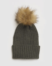 Load image into Gallery viewer, Kate and Confusion khaki ladies wool beanie with natural faux fur pompom