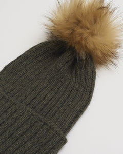 Kate and Confusion khaki ladies wool beanie with natural faux fur pompom
