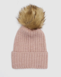 Kate and Confusion pink wool knit ladies beanie with faux fur pompom