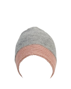 kate and confusion grey and pink wool knitted ladies beanie