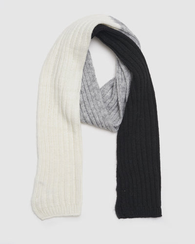 Kate and Confusion ladies wool knit scarf in ivory and black and grey