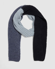 Load image into Gallery viewer, Kate and Confusion wool and alpaca knit ladies scarf in blue and navy