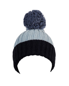kate and confusion blue wool knit womens beanie with pompom