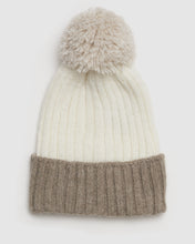Load image into Gallery viewer, Kate and Confusion wool ladies beanie with pompom in beige and white