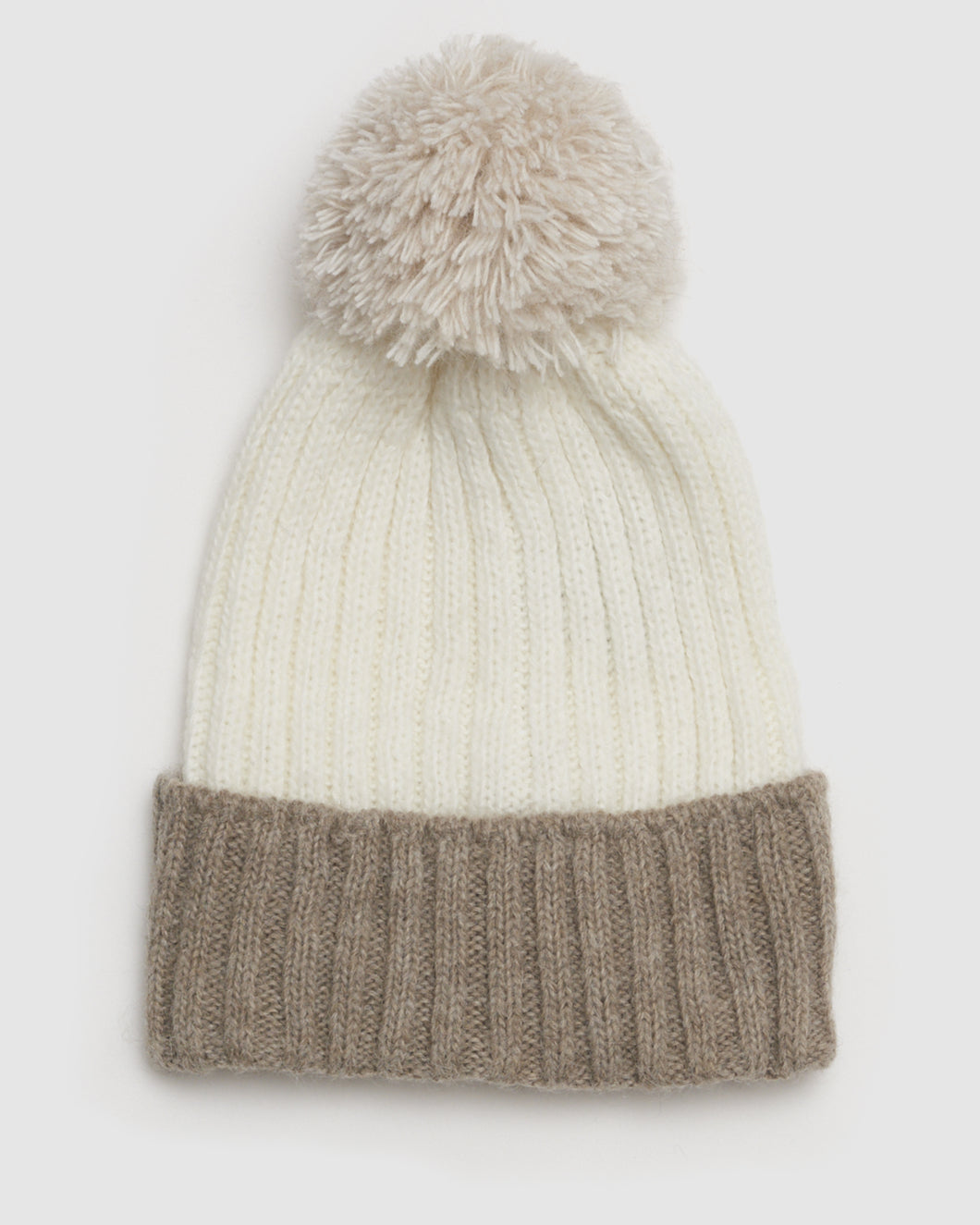 Kate and Confusion wool ladies beanie with pompom in beige and white