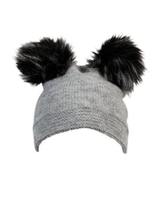 Load image into Gallery viewer, kate and confusion grey ladies beanie with pompoms