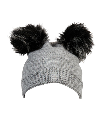 kate and confusion grey ladies beanie with pompoms