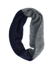 Load image into Gallery viewer, kate and confusion navy and grey mohair knit scarf