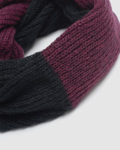 Kate and Confusion knit mohair ladies scarf in black and purple