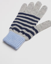 Load image into Gallery viewer, Kate and Confusion ladies wool knit stripe glove in navy and blue