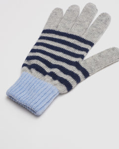 Kate and Confusion ladies wool knit stripe glove in navy and blue