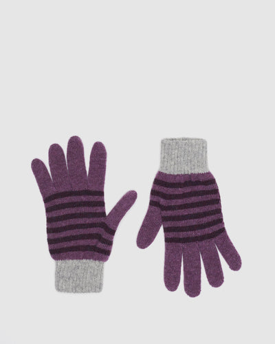 Kate and confusion wool purple stripe ladies gloves