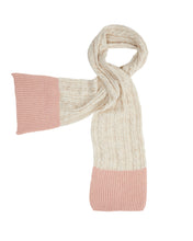 Charger l'image dans la galerie, Kate and Confusion wool and alpaca pink and cream cable knit scarf