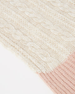 Kate and Confusion wool and alpaca pink and cream cable knit scarf