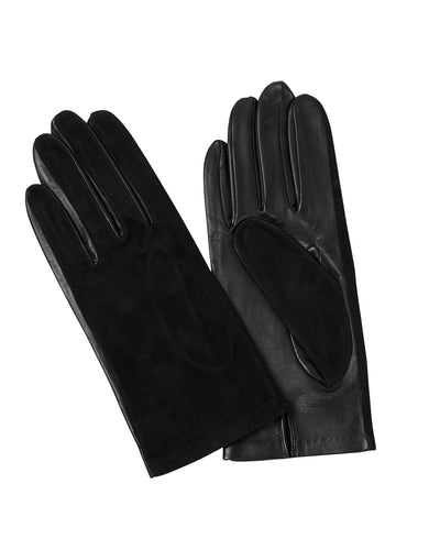 Kate and Confusion black suede and leather ladies gloves