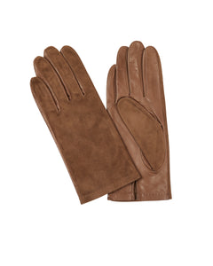 Kate and Confusion brown suede and leather ladies gloves