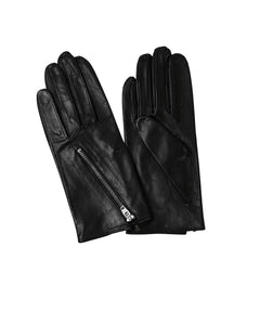 Kate and Confusion black leather ladies gloves with zip detail