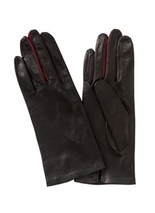 Kate and Confusion black womens' plain leather gloves