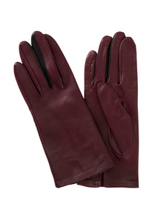Kate and Confusion burgundy womens' plain leather gloves