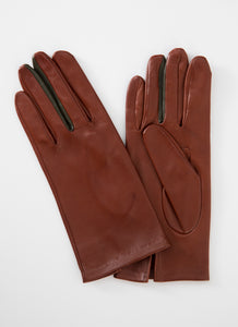 Kate and Confusion cognac womens' plain leather gloves