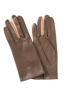 Kate and Confusion taupe womens' plain leather gloves