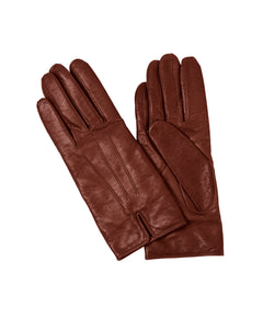 kate and confusion brown leather ladies gloves with wool lining