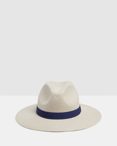 Kate and Confusion beige wool woman's fedora hat with navy trim