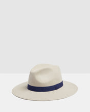 Load image into Gallery viewer, Kate and Confusion beige wool woman's fedora hat with navy trim