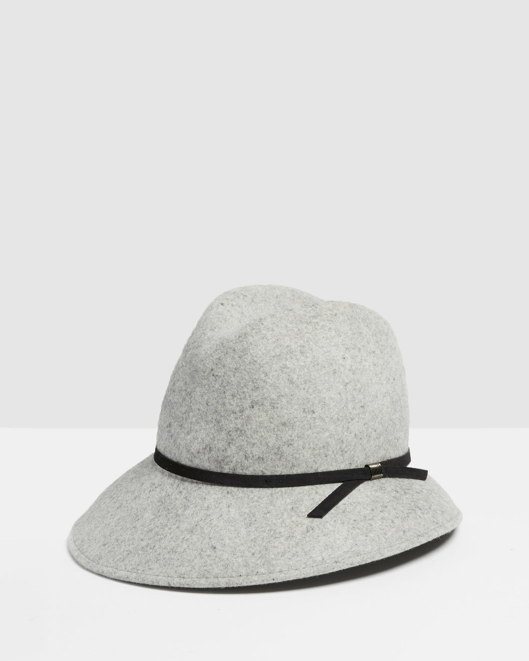 Kate and Confusion grey wool felt asymmetrical womens trilby hat