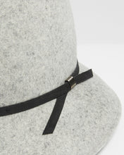 Load image into Gallery viewer, Kate and Confusion grey wool felt asymmetrical womens trilby hat