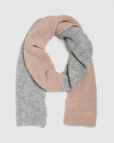 kate and confusion pink and grey stripe wool knit ladies scarf with silver lurex edge