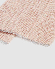 Load image into Gallery viewer, kate and confusion pink and grey stripe wool knit ladies scarf with silver lurex edge
