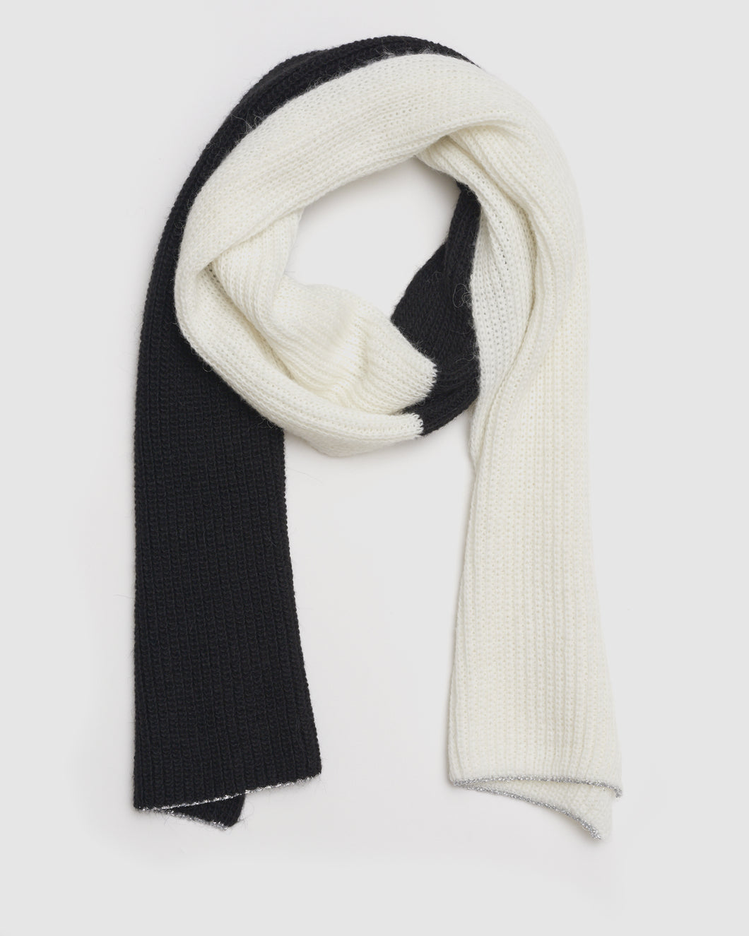 Kate and Confusion ladies wool and alpaca knit scarf in black,ivory and silver