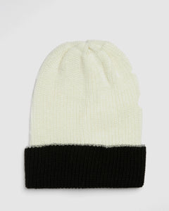 Kate and Confusion ladies wool knit beanie in Ivory and Black