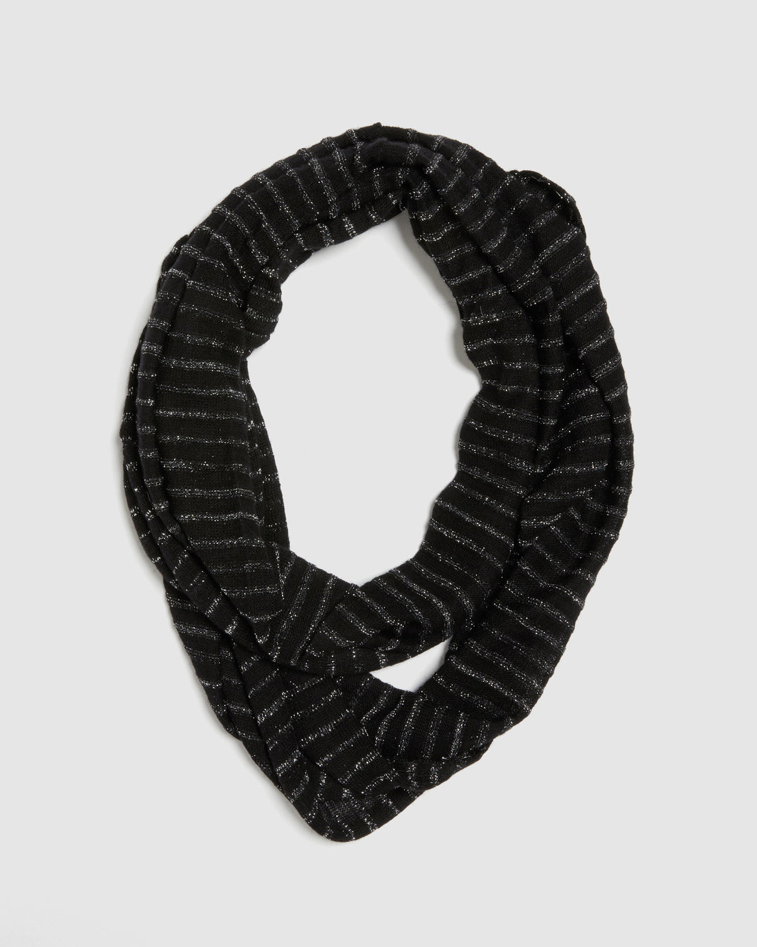 kate and confusion ladies wool knit eternity scarf in black with silver lurex