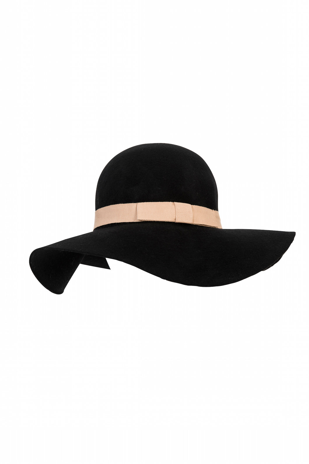 Kate and Confusion Black wool felt ladies floppy hat with pink grosgrain ribbon