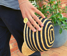Load image into Gallery viewer, Kate and Confusion Stripe Summer Straw Ladies Cap